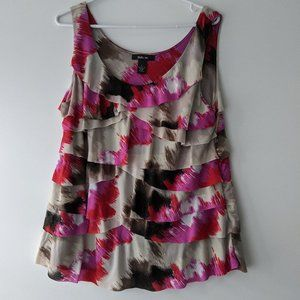 Style & Co. Layered Ruffle Tank Pink Grey Large